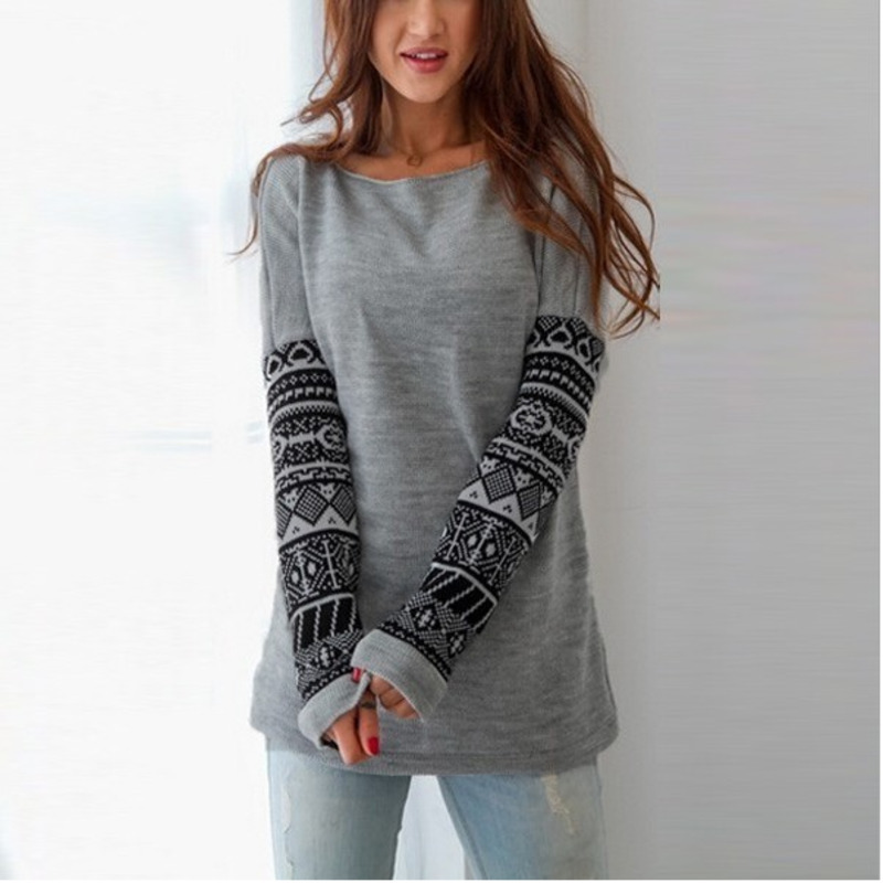 Fashion Autumn Winter New Womens Sexy Slim Round Neck Long Sleeve Hoodie Warm Coat Print Casual Hood Pullover