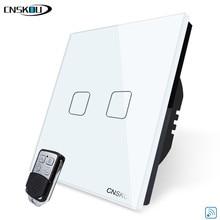 CNSKOU EU 標準高級クリスタルガラスライトスイッチ、スマートホーム 2 ギャング 1WAY リモートワイヤレスタッチ壁スイッチ