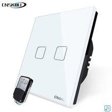 CNSKOU interruptor de luz de cristal de lujo estándar de la UE, hogar inteligente 2GANG 1WAY interruptor de pared táctil inalámbrico remoto