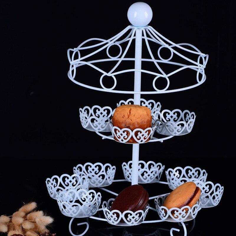Delfenfen deux couches carrousel 12 tasses blanc gâteau Stands pour mariage fête d'anniversaire fournisseurs gâteau magasin pour biscuits affichage
