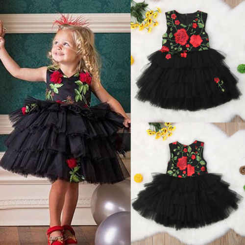 2019 Summer Infant Kid Baby Girls Embroidery Flower Sleeveless Layrerd  Dress Pageant Bridesmaid Formal Gown Princess Dress 6M-5T