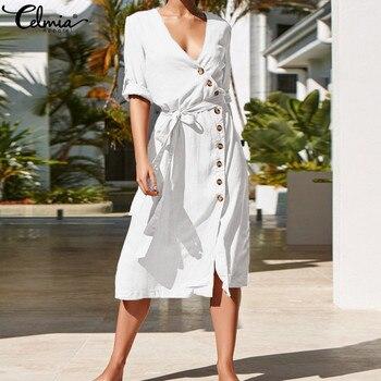 020658ea7 Celmia Plus Size Vestido de Verão 2019 Elegante Camisa de Vestido Das  Mulheres Sexy Decote Em V Divisão Botton Casual Com Cinto de Verão Praia  Vestidos ...