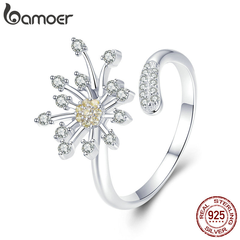 BAMOER Authentic 925 Sterling Silver Blooming Dandelion Love CZ Adjustable Rings