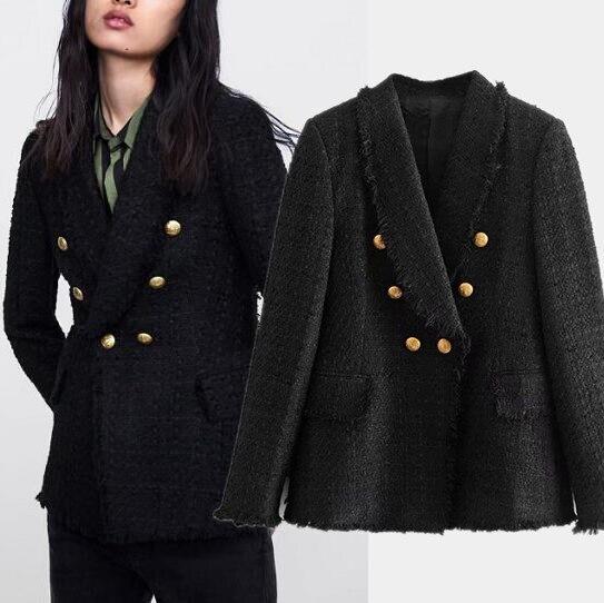 Frauen Einreiher Vintage Plaid Tweed Blazer Mujer O Neck Langarm Taschen Ausgefranste Kanten damen jacken anzug Lässig blazer