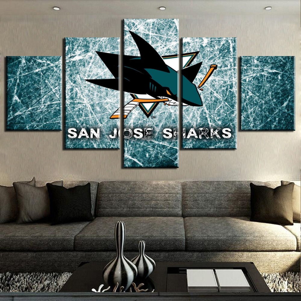 HD Print Modular 5 Piece Canvas Art Ice Hockey Sport <font><b>Logo</b></font> <font><b>Poster</b></font> Paintings on Canvas Wall Art for Home Decorations Wall Decor image