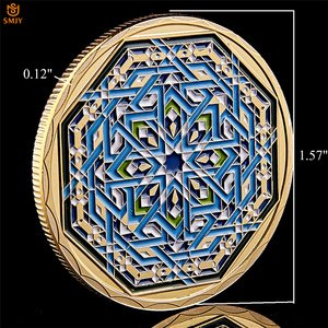 Image 3 - Ramadan kareem octogonal árabe saudita islâmico ouro chapeado réplica colecionável moeda e presente de férias