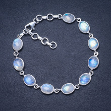Natural Rainbow Moonstone 925 Sterling Silver Bracelet 7 1/4-8 1/4 Q2820 natural carnelian handmade unique 925 sterling silver bracelet 7 1 4 8 y0014