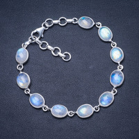 Natural Rainbow Moonstone 925 Sterling Silver Bracelet 7 1/4 8 1/4 Q2820