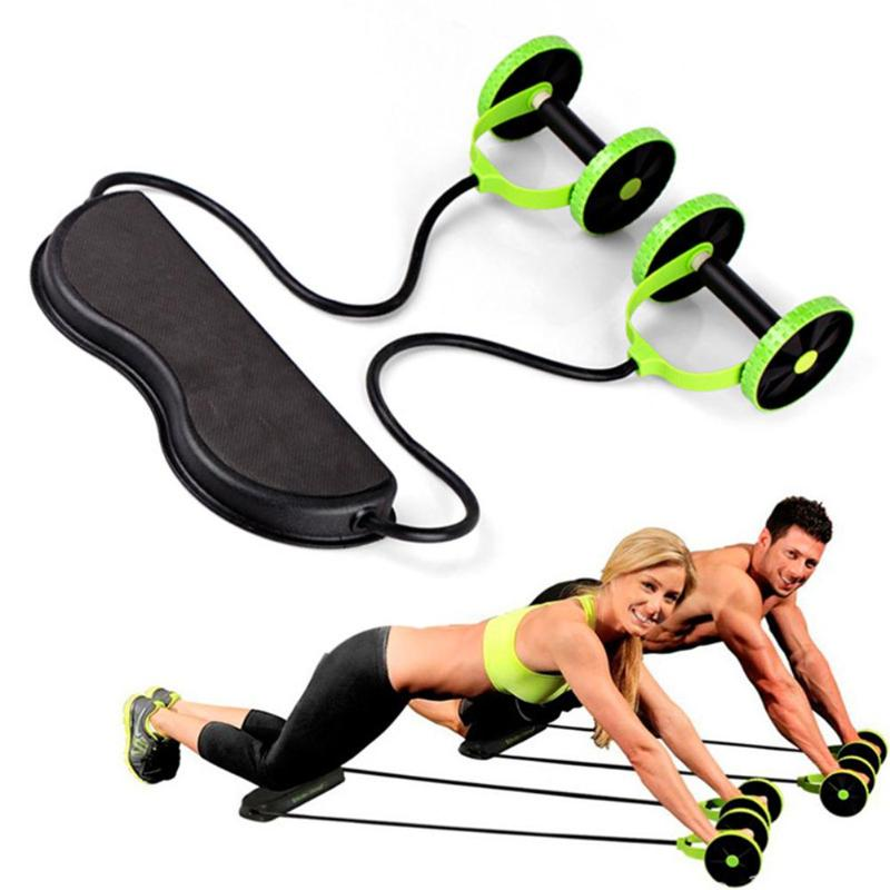 Double-Wheeled Power Wheel Elastic Resistance Pull Rope for Abdominal Muscle Trainer ABS Roller Home Gym Fitness Equipment HWC/ / Green
