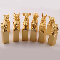 18KT Gold Plated Fashion Newest Design Chinese Classic Zodiac Metal Seal Stamps Decoration Crafts for home