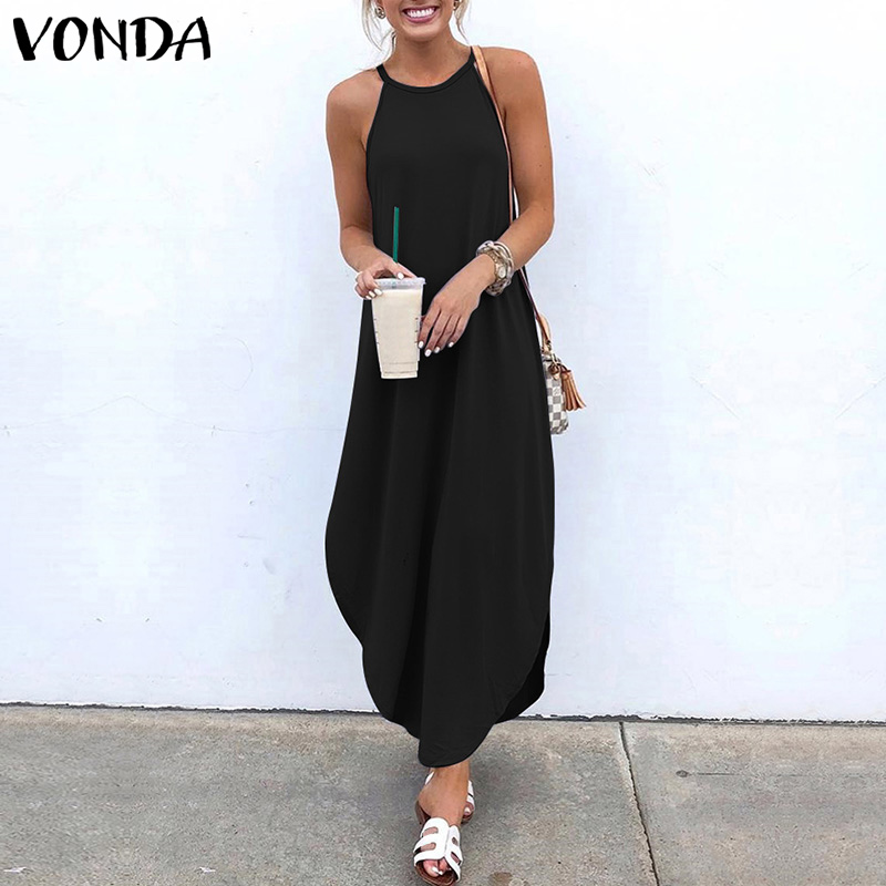 VONDA Women Dress 2019 Summer Sexy Strap Sleeveless Irregular Party Maxi Long Dresses Female Casual Loose Plus Size Vestidos