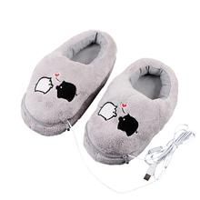 1 Pair USB Electric Slippers Heated Plush Slippers Gray Cute Black And White Pig Pattern Warm Foot Treasure Against Cold Wint