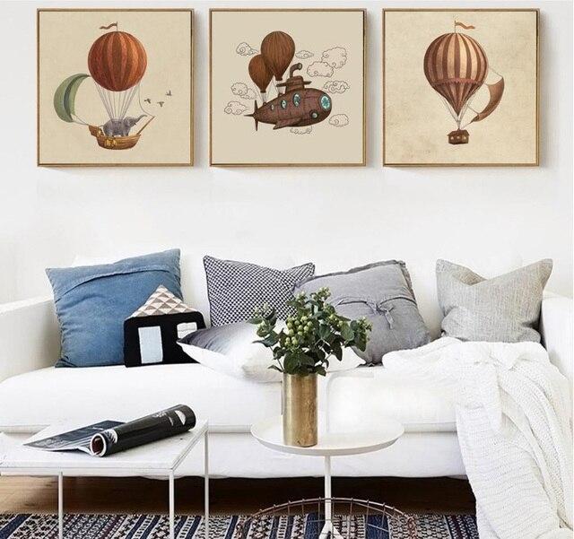 3 stücke Nordic retro magische reise ballon dekoriert gemälde ...