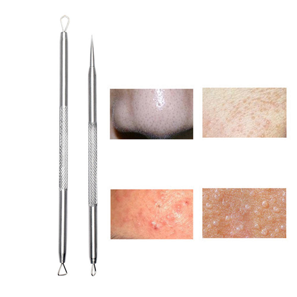 Silver Professional Remove Blackheads Stainless Steel Tweezers and Pins Tool for Acne Remover Blackhead Needle Squeeze Blain in Face Skin Care Tools from Beauty Health