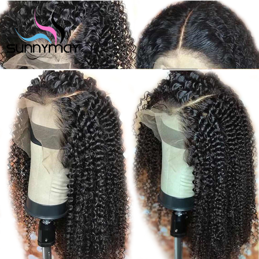Sunnymay 13x4 Curly Lace Front Wig With Baby Hair Pre Plucked Lace Front Human Hair Wigs Brazilian Remy Hair Wigs Bleached Knots