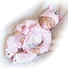Realistic Girl Reborn Baby Silicone with Clothes Closed Eyes Lifelike Soft Baby Doll Toy for Kids 4