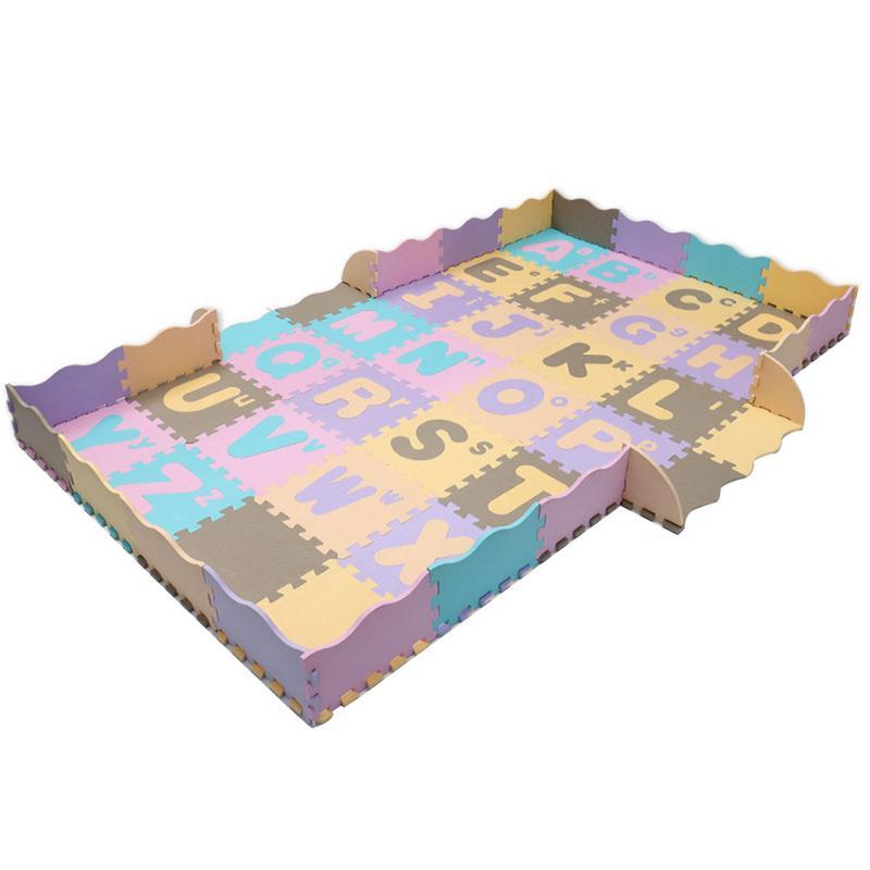 Alphabet anglais bande dessinée puzzle couture tapis rampant bébé chambre salon anti-dérapant respectueux de l'environnement tapis en mousse