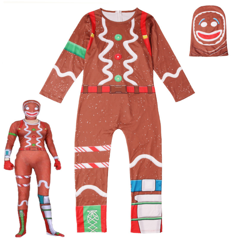 Childrens Gingerbread Man Cosplay Costume Party Halloween Christmas For Kids Brithday Gift Boys Fancy Jumpsuits Mask One-piece