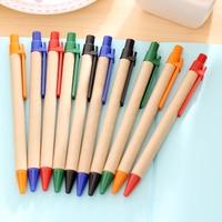 100pcs/ Lot Blue Ink Eco Paper Pen Platic Clip Green Paper Pen Environmental Friendly Ballpoint Pen Wholesale Gift Pen