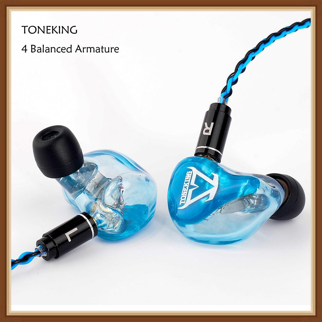 TONEKING T4 4BA Custom Made In Ear Earphone 4 Balanced Armature HIFI Music Monitor Earphones Earubds