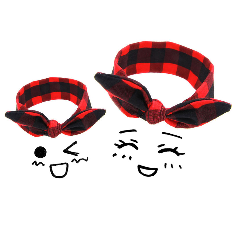 2pcs/set Mom & Daughter Headband Christmas Kid Baby Girls Red Plaid Headbands Elastic Turban Xmas Gift