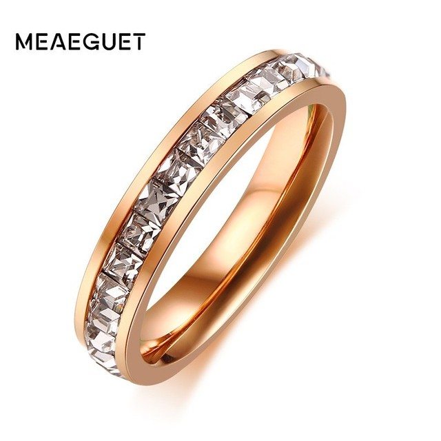 585 Rose Gold Promise Ring For Women CZ Stone White Stone Wedding Brands 4mm Width Thin Charm Party Gifts