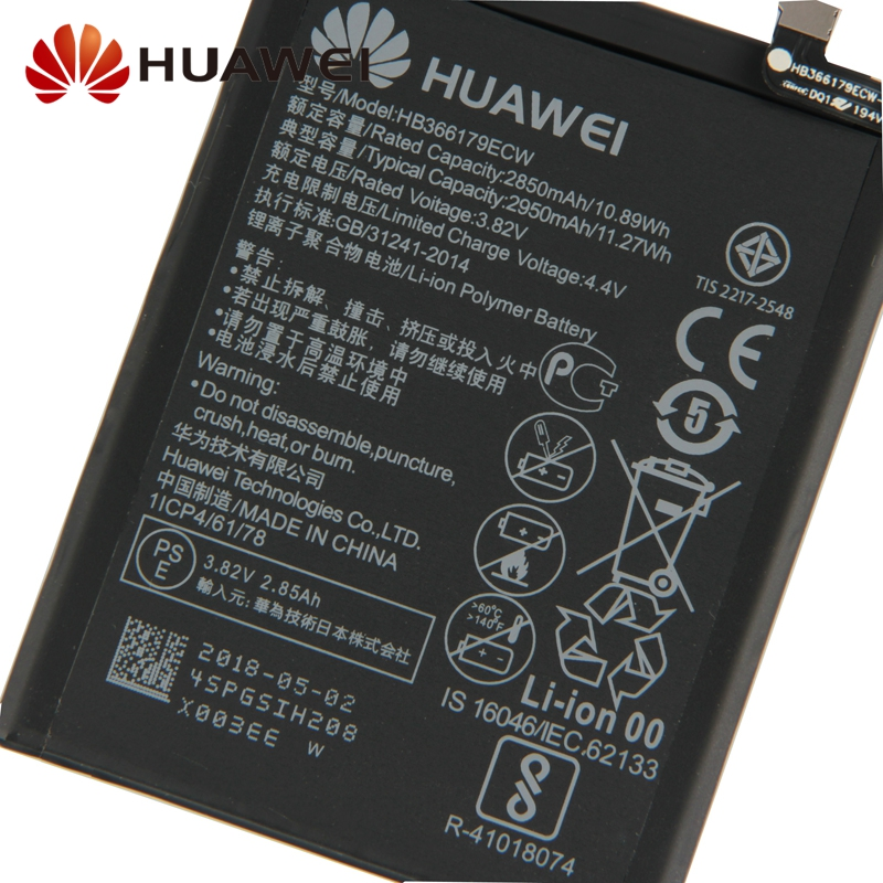 Original Replacement Battery Huawei HB366179ECW For Nova2 Nova 2 CAZ TL00 CAZ AL10 Authentic Phone Battery 2950mAh in Mobile Phone Batteries from Cellphones Telecommunications