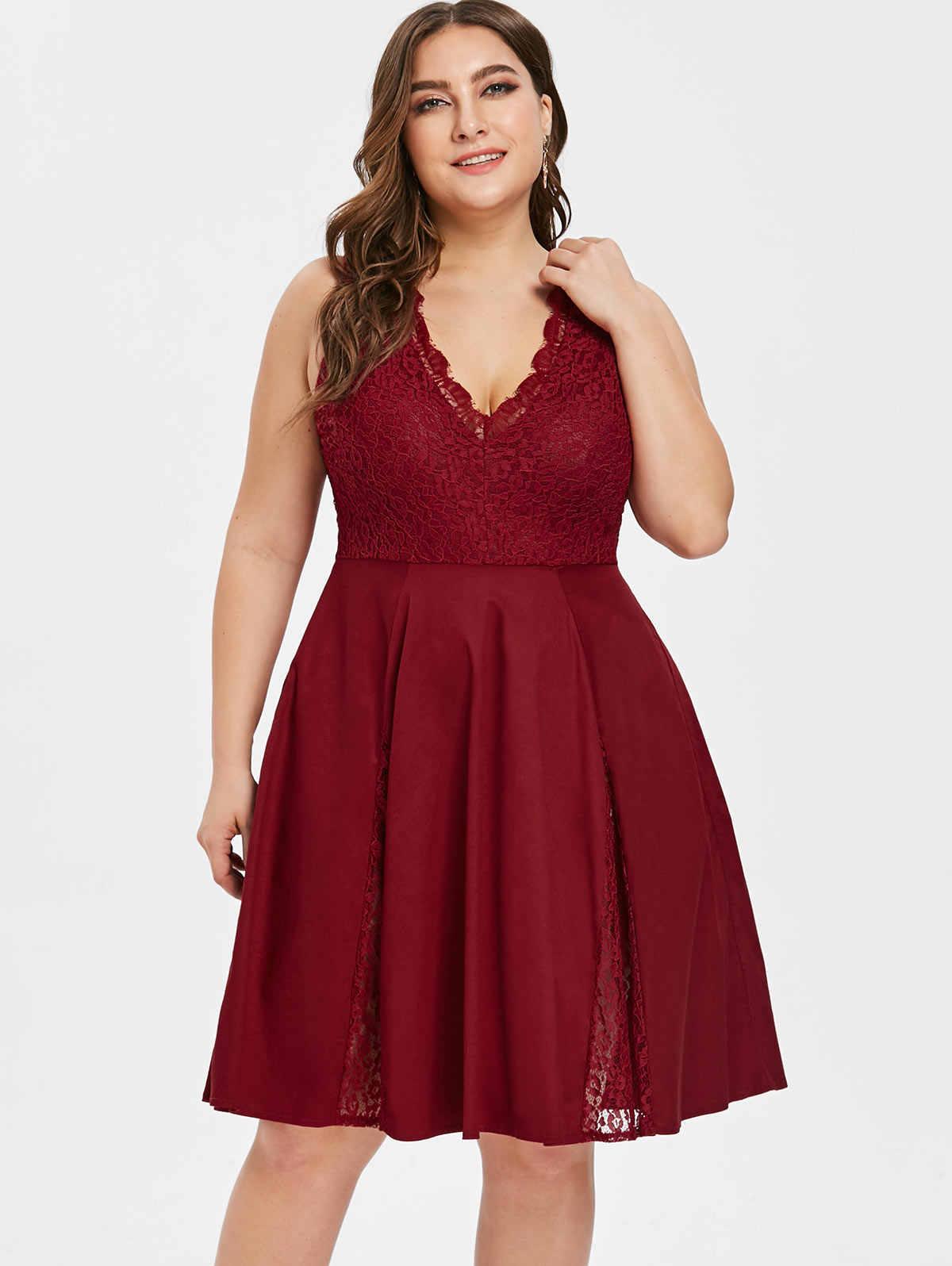Фото Wipalo плюс размер винтажное платье для женщин ресницы кружева панель V шеи вечернее