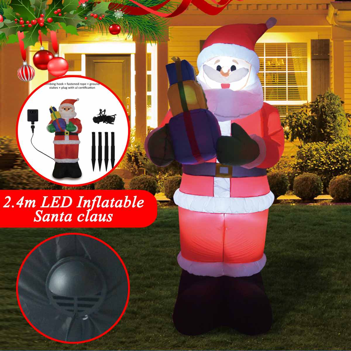 2 4m Christmas Inflatable Toys Led Inflatable Santa Claus