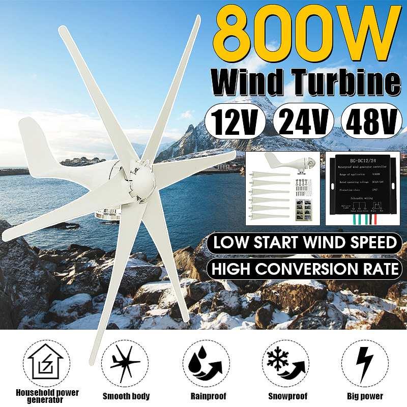 800W 12 V/24 V/48 V 6 pales générateur de vent + contrôleur éoliennes horizontale maison puissance éolienne éoliennes Charge