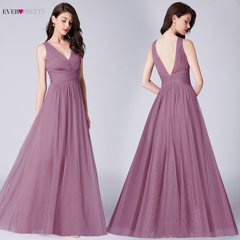 Elegant Long Dusty Pink   Bridesmaid     Dresses   Ever Pretty V-Neck Sleeveless Chiffon Women Formal Wedding Party Guests   Dresses   2019