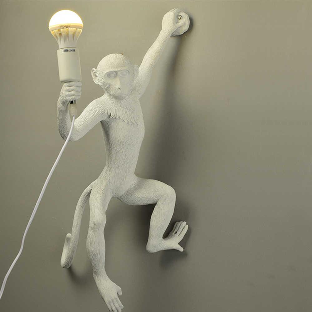 Смола черный, белый цвет кулон с обезьяной для Гостиная лампы Art Гостиная Кабинет номер светодиодные фонари блеск с E27 светодиодные лампы