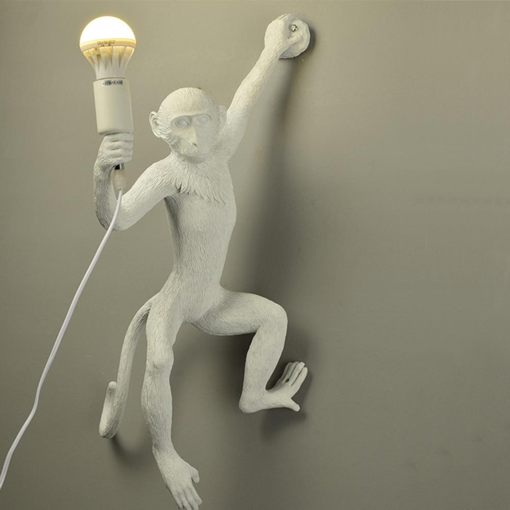 Resina preto branco ouro macaco lâmpada pingente luz para sala de estar lâmpadas sala estar estudo arte sala luzes led lustre com e27 lâmpada led - 5