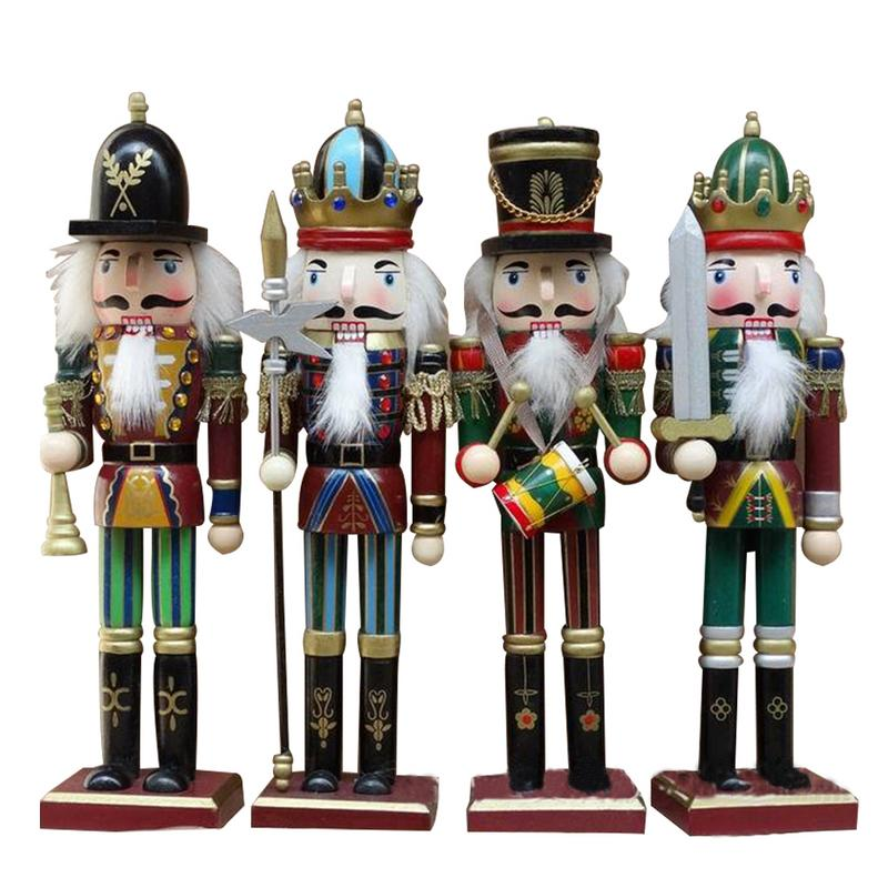 4PCS Solid Wood Nutcracker Soldiers Gift Set Classic Hand Painting Doll Great Decoration For Office Home Christmas