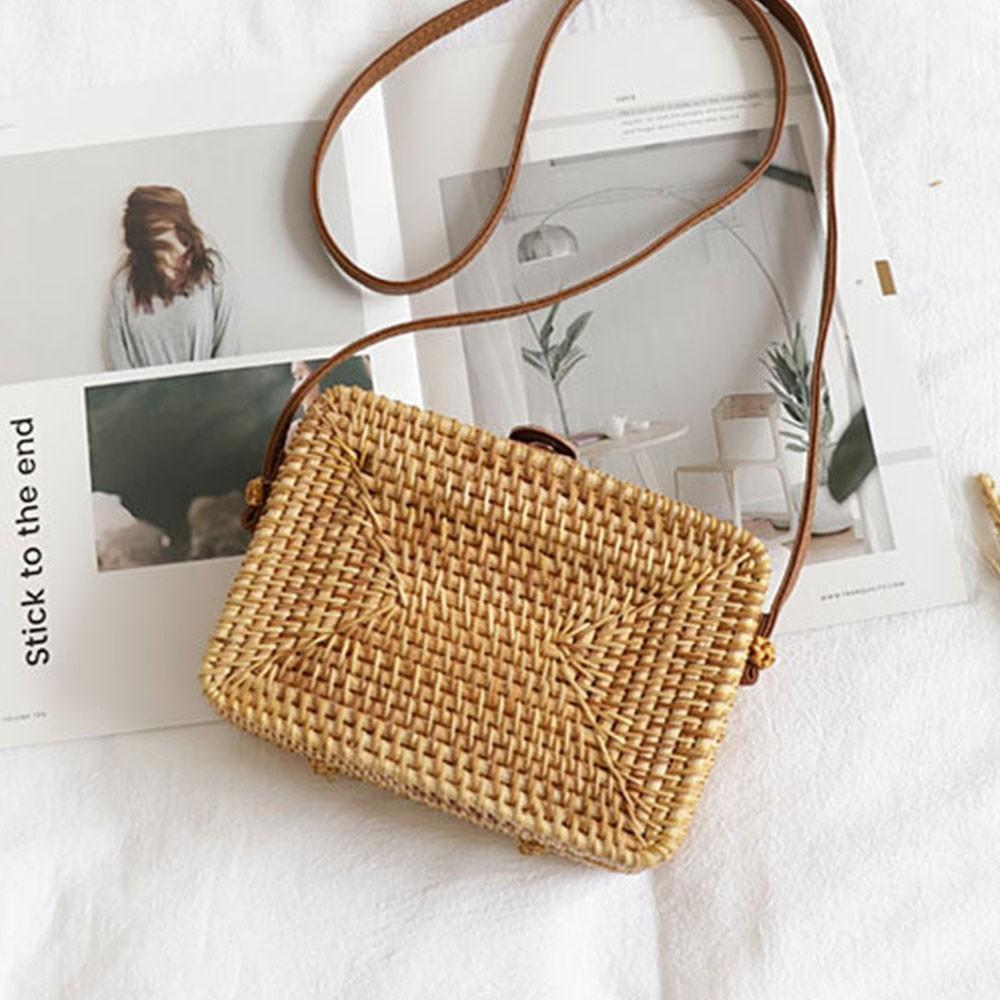 TTOU Round Straw Bags Women Summer Rattan Bag Handmade Woven Beach Cro