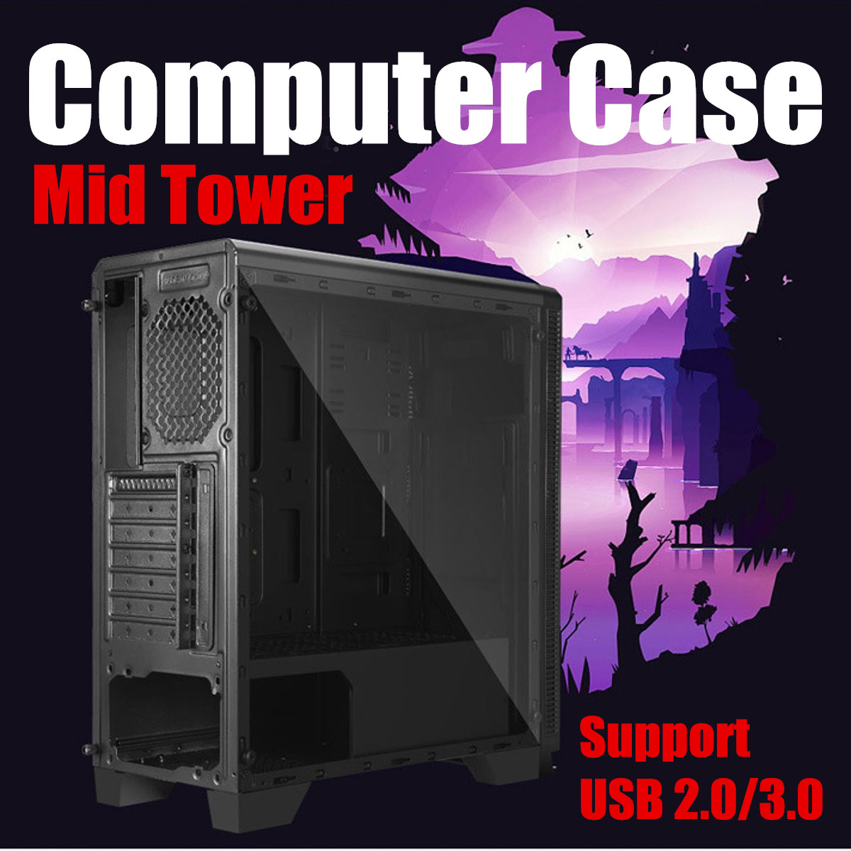 USB 3.0 Port Gaming RGB Tempered Tower Computer Case PC ATX M-ATX ITX Mid Water Cooling Dustproof Mute Computer Components Black