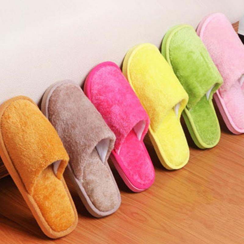 New Women Winter Slippers Shoes Soft Plush Cotton Non-Slip Floor Indoor Furry Shoes Slipper For House Home