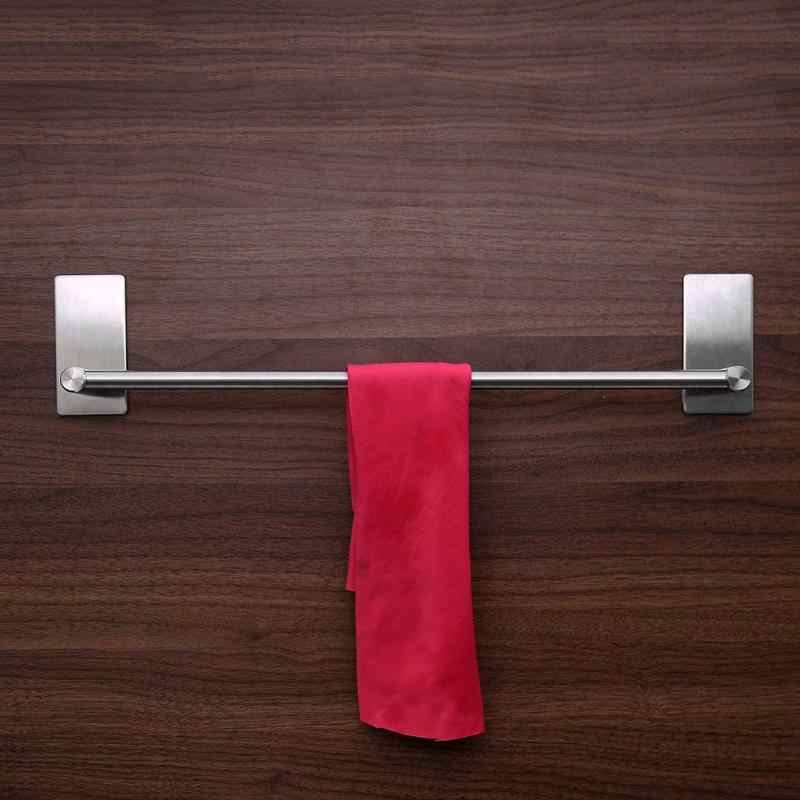 1PCS Stainless Steel Wall-Mounted Bathroom Towel Shelf Holder Adhesive Force Bathroom Shelf Pendant Toilet Roll Paper Hanging
