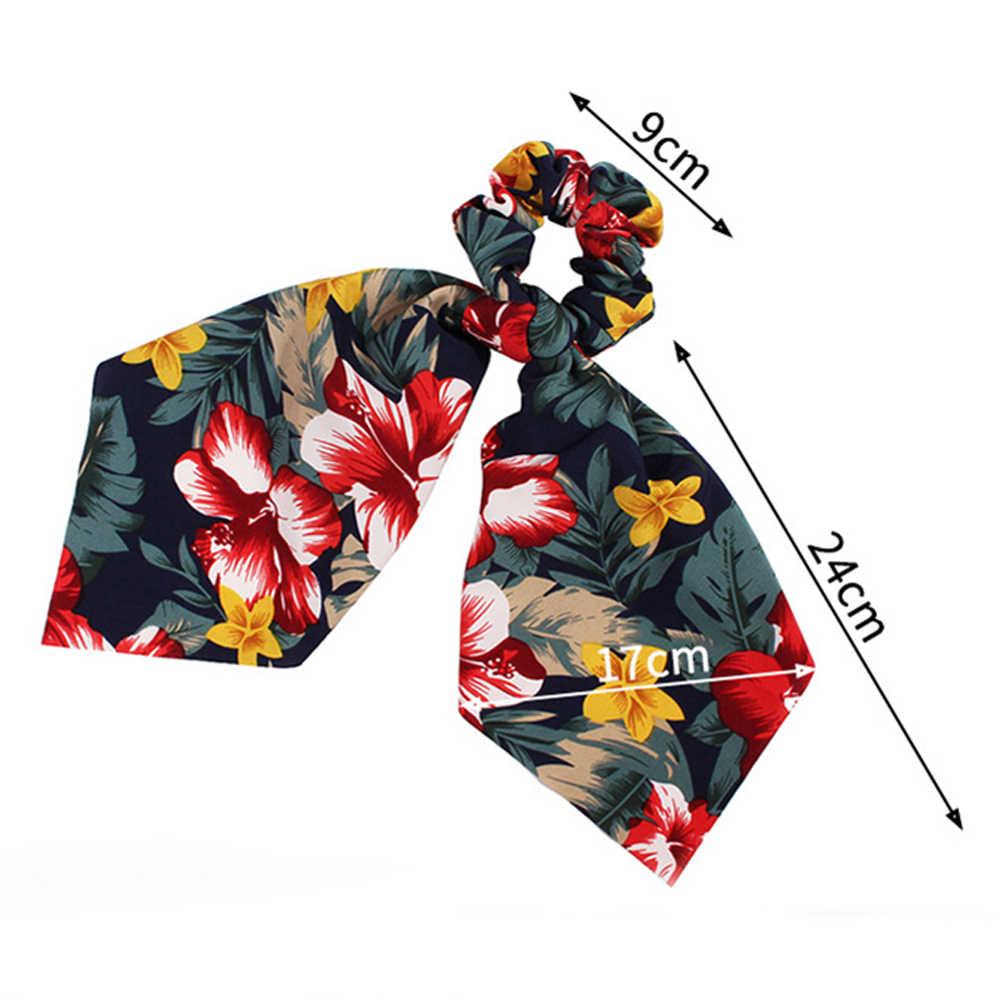Женские Длинные резинки с цветочным принтом, резинки с бантом для волос, шарф, эластичные Ленточные резинки для волос, аксессуары для волос для девочек