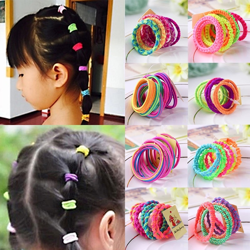 Hair Rope 10 Pcs Hair Ties Holder Candy Color Fashion Elastic   Ponytail Rubber Girls  Mixed Color