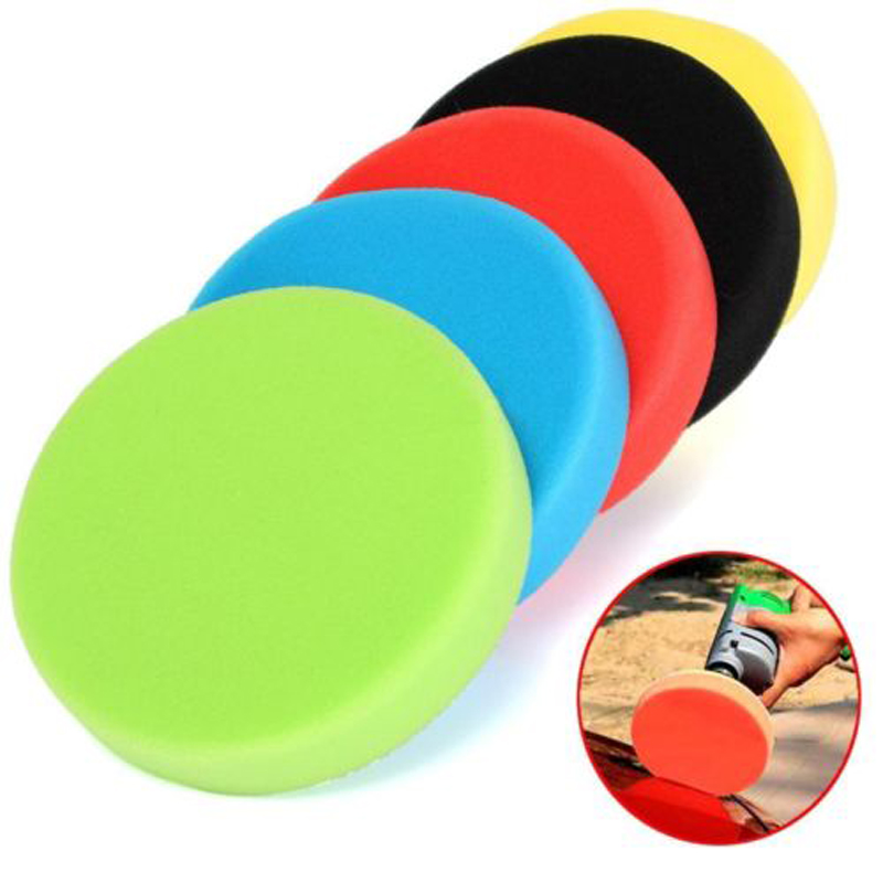 Abrasive Tools 5pcs 3/4/5/6/7inch Flat Sponge Buffer Buffing Sponge Polishing Pad Hand Tool Kit Car Polisher For Car Polisher Wax Buffer