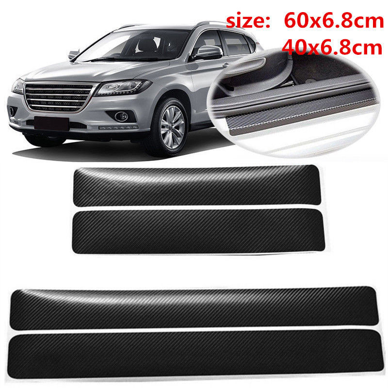 4x Anti Scratch Sill Scuff Cover 3D Carbon Fiber Look Car SUV Door Plate Sticker