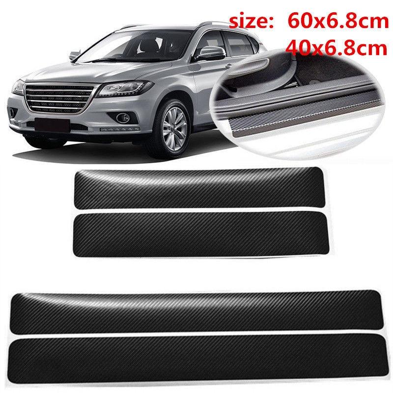 4pcs Car Stickers Auto Interior Protector Film Door Edge Protective Glue Automobiles Trunk Door Sill Full Car Accessories Step