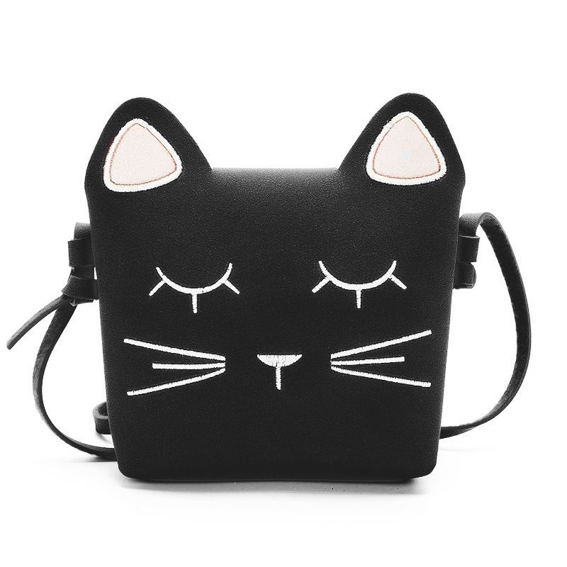 Cute Cat Girls Purse Handbag Children Kid Cross-body Shoulder Bag Christmas Gift, Black