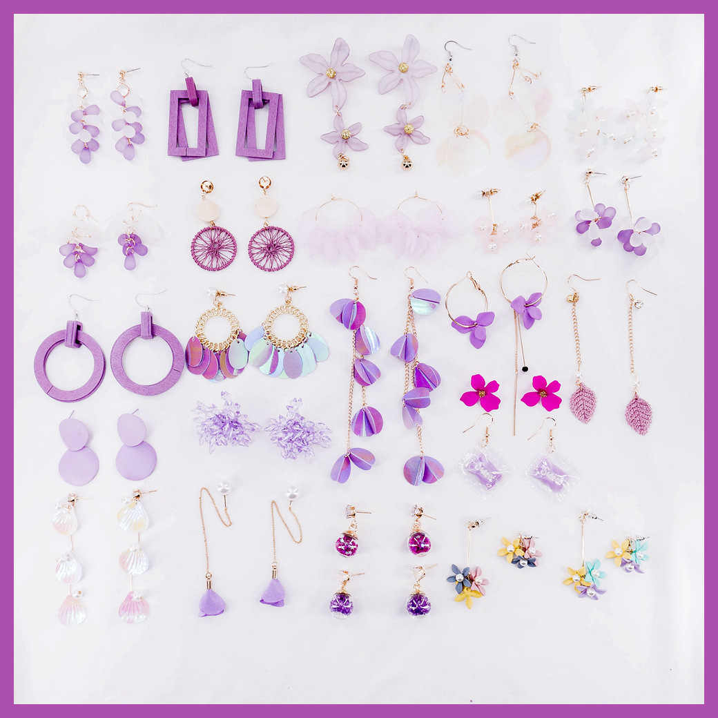 Trendy purple earrings collection 2019 Korean girls style ins New fashion Petal earrings  long Dangle earrings Women Accessories
