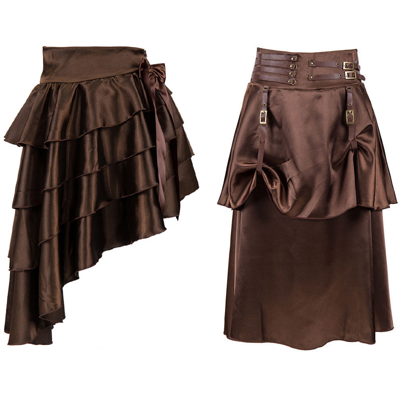 Halloween Adult Women Pirate Skirt Gothic Steampunk Trumpet Mermaid Pleated Asymmetrical Skirts