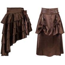Halloween Adult Women Pirate Skirt Gothic Steampunk Trumpet Mermaid Pleated Asymmetrical Skirts