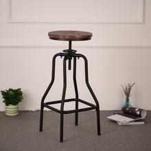 iKayaa Bar Chairs Style Height Adjustable Swivel Bar Stool Natural Pinewood Top Kitchen Dining Breakfast Chair Bar Furniture