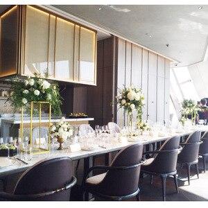 Image 3 - 10 pces casamento/mesa peça central flor vaso vasos de assoalho metal estrada chumbo flor suporte/pote/rack para casamento/festa decoração g0502