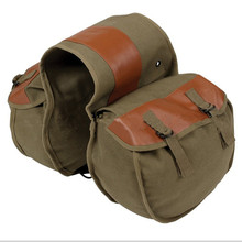 Canvas Universal Motorcycle Bike Rear Tail Bags Equine Back Pack Saddlebags